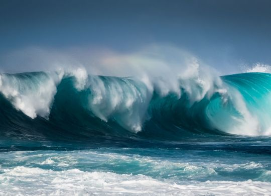 Waves breaking on the coast of Lanzarote, La Santa.