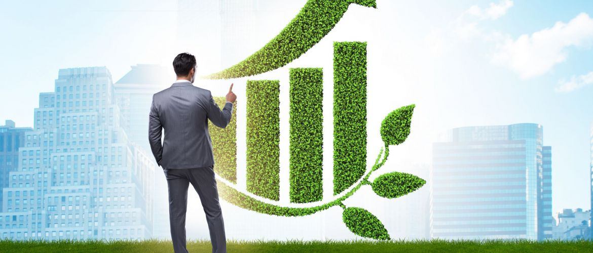Green economy growth with businessman