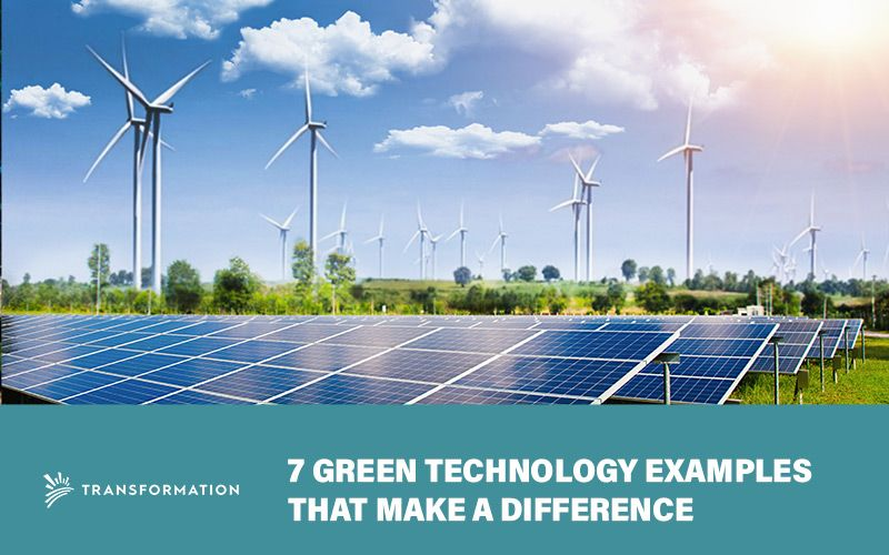 green technology examples: wind turbines and solar panels against mountains and sky | Green Technology | WalterSchindler.com