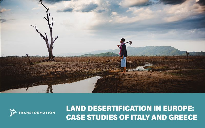 Land Desertification - farmer looks out over a dying landscape