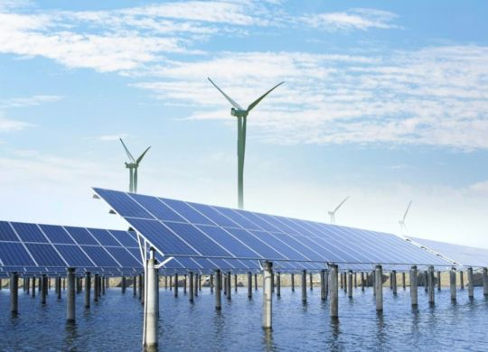 wind turbines and solar panels